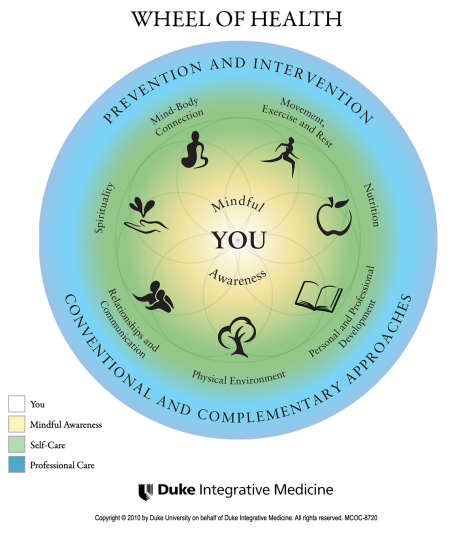 concentric circles centered on you, with mindful awareness, self-care and professional care