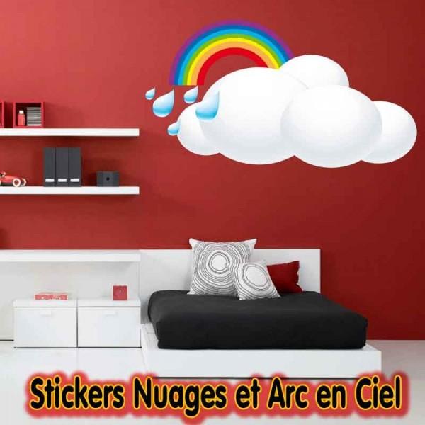 stickers nuage et arc en ciel