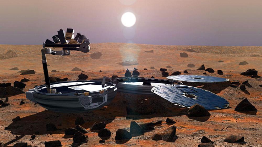 Une représentation artistique du robot Beagle 2 à la surface de Mars, réalisée en 2002 par l'Agence spatiale européenne.