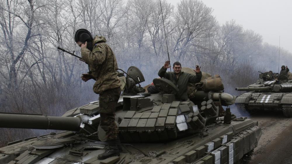 Des militaires ukrainiens à Donetsk (Ukraine), le 14 février 2015.