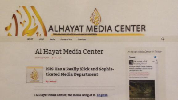 Capture d'écran du site prônant l'apologie du terrorisme Al Hayat Media, bloqué par le ministère de l'Intérieur, le 16 mars 2015.