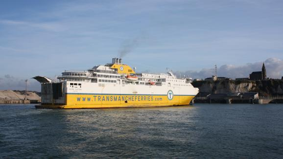 A ferry enters the port of Dieppe (Seine-Maritime) on November 19, 2012.