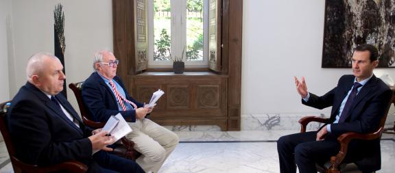 Une photographie obtenue auprès du service de presse syrien, lors de l'entretien de Bachar-Al-Assad avec l'AFP, jeudi 11 février 2016.