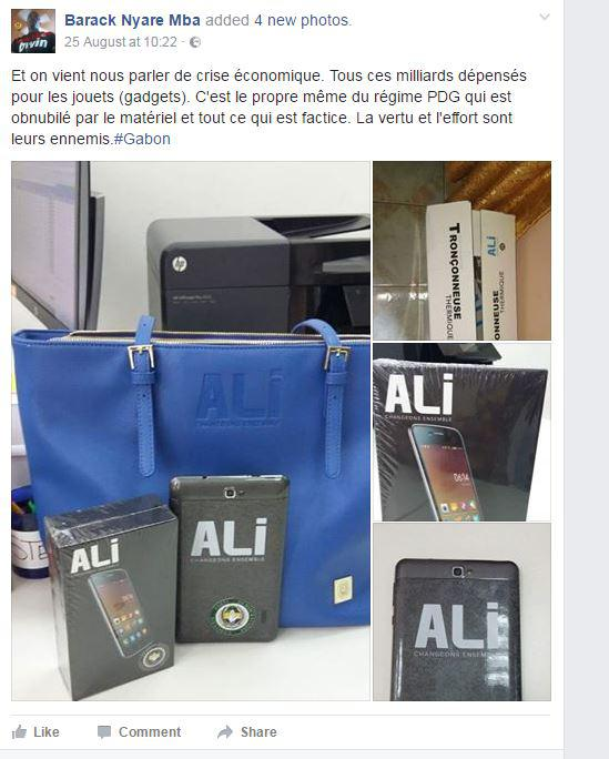 Capture écran du compte Facebook de Barack Nyare Mba, sur les cadeaux distribués par Ali Bongo durant la campagne présidentielle, le 25 août 2016.