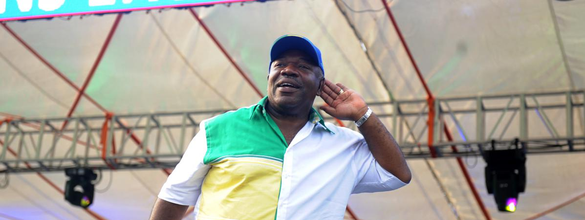 Ali Bongo Ondimba lors de son dernier meeting de campagne au stade Nzang-Ayong de Libreville (Gabon), le 26 août 2016.