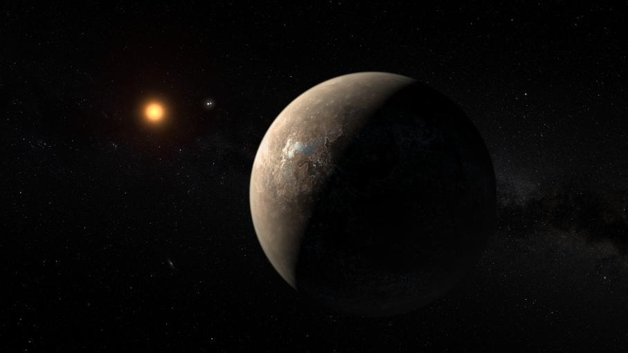 Reproduction artistique de la planète Proxima b, la plus proche de notre système solaire, publiée par l\'Observatoire européen austral le 24 août 2016.