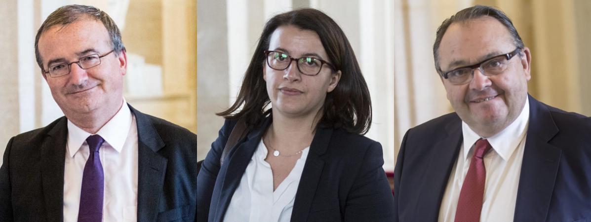 Les députés Hervé Mariton (LR), Cécile Duflot (EELVE) et Patrick Mennucci (PS), à l\'Assemblée nationale.