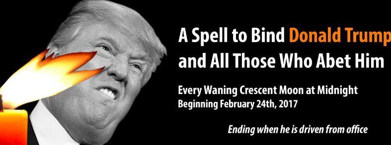 """Capture écran de l\'événement Facebook \""""Mass spell to bind Donald Trump\"""", vendredi 24 février 2017."""