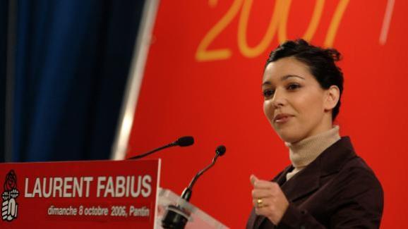 Sophia Chikirou lors d'un meeting de soutien à Laurent Fabius, le 8 octobre 2006, à Pantin (Seine-Saint-Denis).