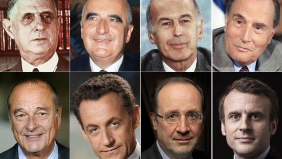 Les six présidents de la Ve République :de Gaulle (1959-1969), Pompidou (1969-1974), Giscard d\'Estaing (1974-1981), Mitterrand (1981-1995), Chirac (1995-2007), Sarkozy (2007-2012), Hollande (2012-2017) et Macron.
