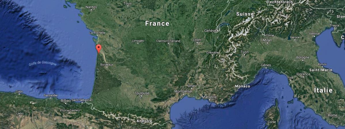 Capture d\'écran d\'une carte Google pointant la ville de Vendays-Montalivet (Gironde).