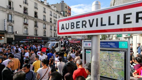 Un rassemblement à Aubervilliers après la mort de Zhang Chaolin, le 21août 2016.
