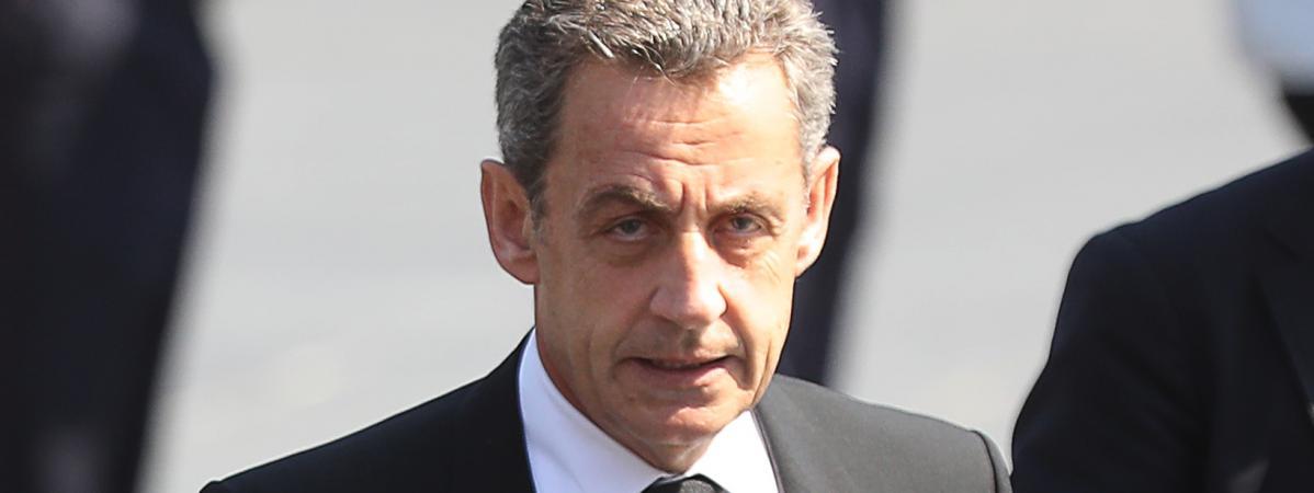 Nicolas Sarkozyassiste à la cérémonie de commémoration de l'attentat de Nice (Alpes-Maritimes), le 14 juillet 2017.