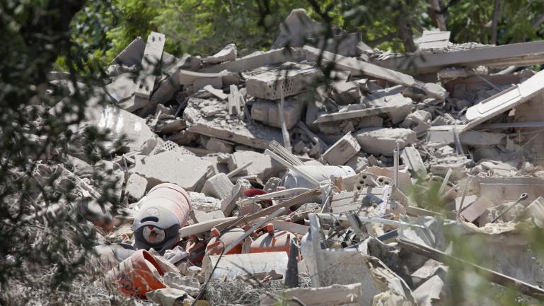 Lesruines de la maison d\'Alcanar (Espagne), détruite à la suite d\'une explosion non-contrôlée, le 16 août 2016.