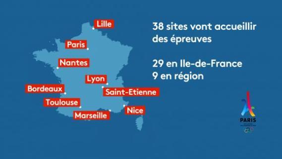 Sur les 38 sites des JO 2024, 29 se situent en Ile-de-France et 9 en région.