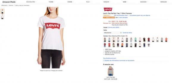 Capture d\'écran du site Amazon sur lequel le tee-shirt Levi\'s est numéro un des ventes de tee-shirts, en octobre 2018.
