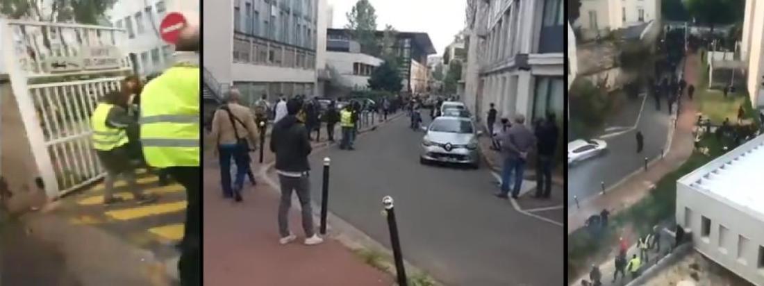 Captures d\'écran de vidéos filmées le 1er mai 2019 montrant une intrusion dans l\'enceinte de l\'hôpital de la Pitié-Salpêtrière, à Paris.