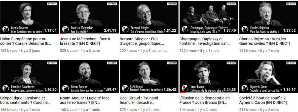 Jean-Luc Mélenchon, Juan Branco ou encore Aymeric Caron font partie des derniers invités de Thinkerview, comme le montre cette capture d\'écran de la page YouTube de Thinkerview, le 13 mai 2019.