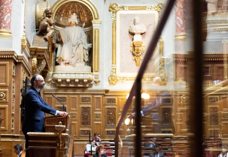 Edouard Philippe présente son plan de déconfinement au Sénat, le 4 mai 2020.