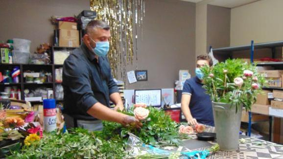 Florist Nicolas Bibaut in the back room of his shop, on July 2, 2020, in Reims (Marne).