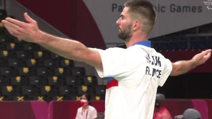 assured medal for Lucas Mazur in for badminton