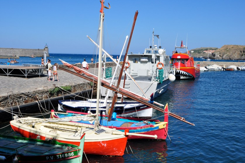 Boats tied up alongside the quay in Collioure harbour