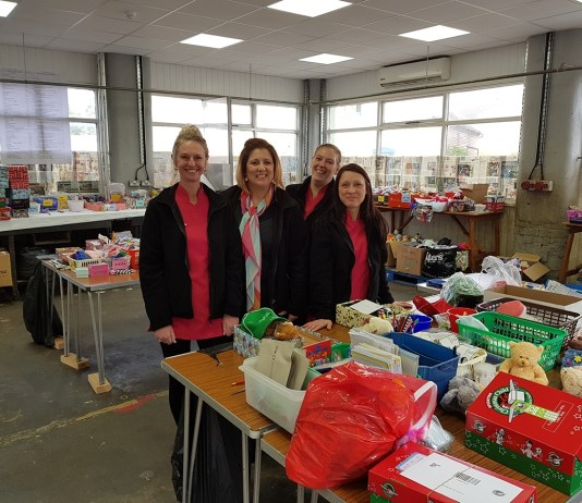 Toni Hibbert Bright Beautiful Derby and her team pack shoeboxes for Operation Christmas Child