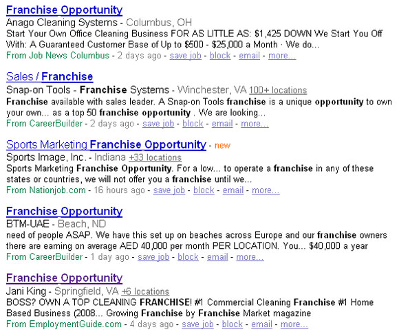 Franchise Opportunities job listing