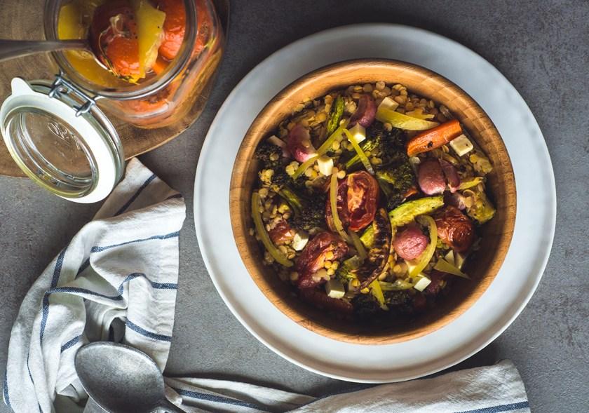 salada de lentilha com legumes assados