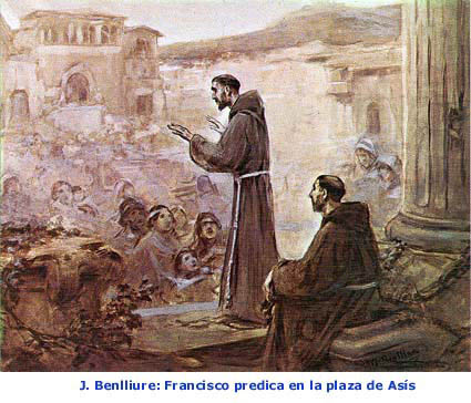 J.Benlliure: Francisco predica en la plaza de Asís