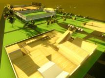 Perspectiva da praça poliesportiva, que terá duas quadras de vôlei e futebol de areia, um campo de suíço sintético e pista de skate Plaza, no espaço entre o parque Alvorada e o Portal Italiano