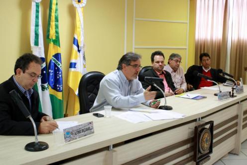 Alfonso, Scirea, Dile, Geremia e Brizola durante a apresentação do PPA e prestação de contas do quadrimestre
