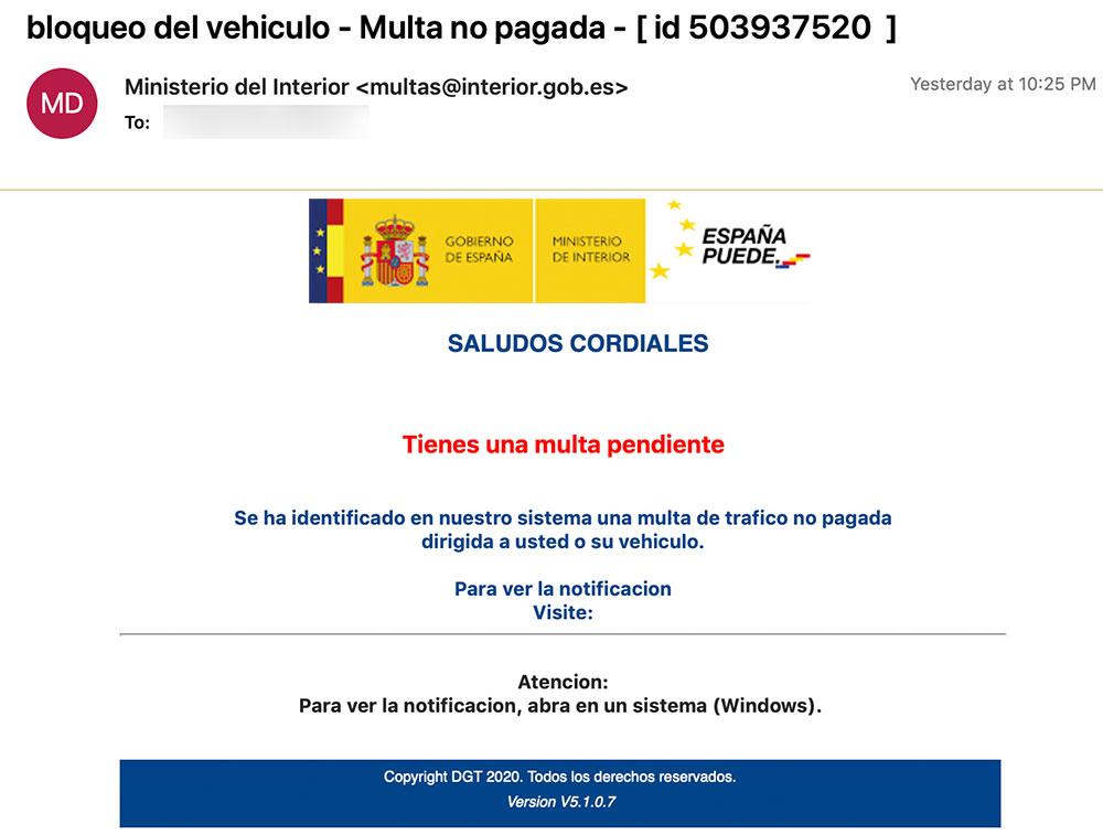 Ministerio de Interior E-mail Phishing Scam Image