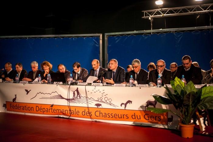 Franck Montaugé lors de son intervention devant les adhérents de la fédération départementale des chasseurs du Gers. ©franckmontauge.fr