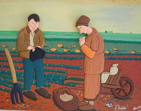 """""""L'Angélus"""" - 100 x 73 - Bas-relief sur toile - 2002 - Galerie Piltzer Campagne - Barbizon"""