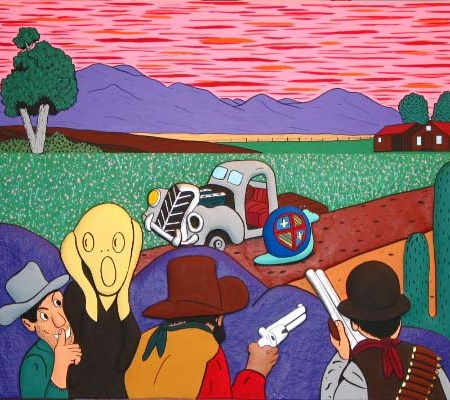 """""""Les Terroristes"""" - 162 x 97 cm - Bas-relief sur toile - 2002"""
