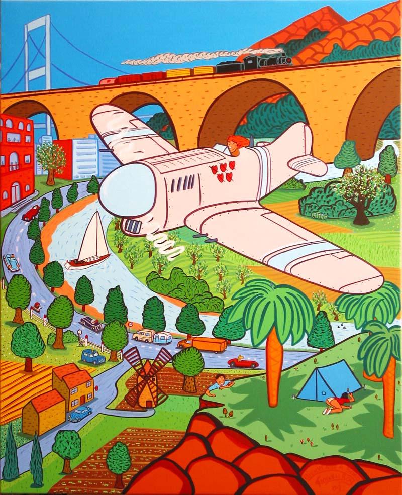 """"""" Bienvenue A Bord """" - 100cm X 81cm - Acrylique sur toile - 2009"""