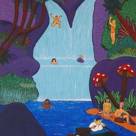 """""""La Baignade"""" - 100 x 81 - Bas-relief sur toile - 2003"""