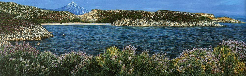Il monte Athos. Le rive di un mondo nuovo - olio su tela cm 150x50 anno 2002