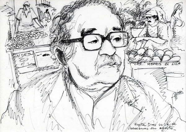 Hasta Dios se va de vacaciones en agosto - disegno su carta cm 70x50 Anno 2012