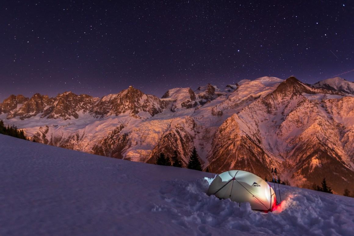 Bivouac face au Mont-Blanc
