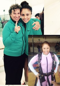 Paola Longoria and Coach Fran Davis after her singles and doubles victory in Monterrey, MX. And Paola parachuting....intense.