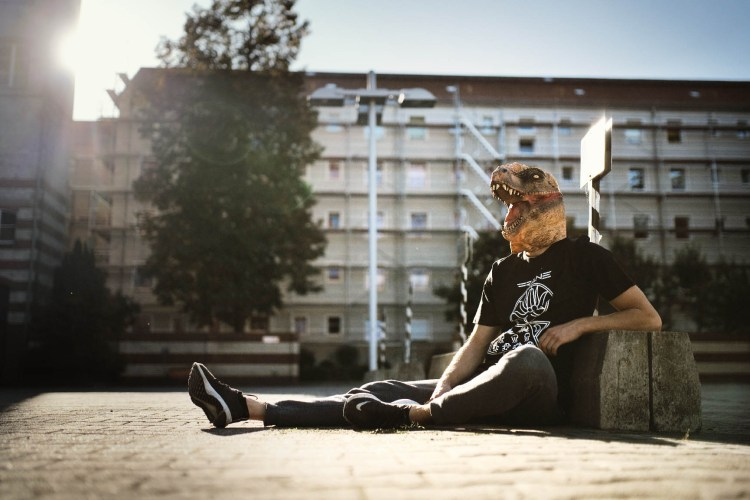 T-Rex sunbath with FRANE Abyssal Cult Shirt