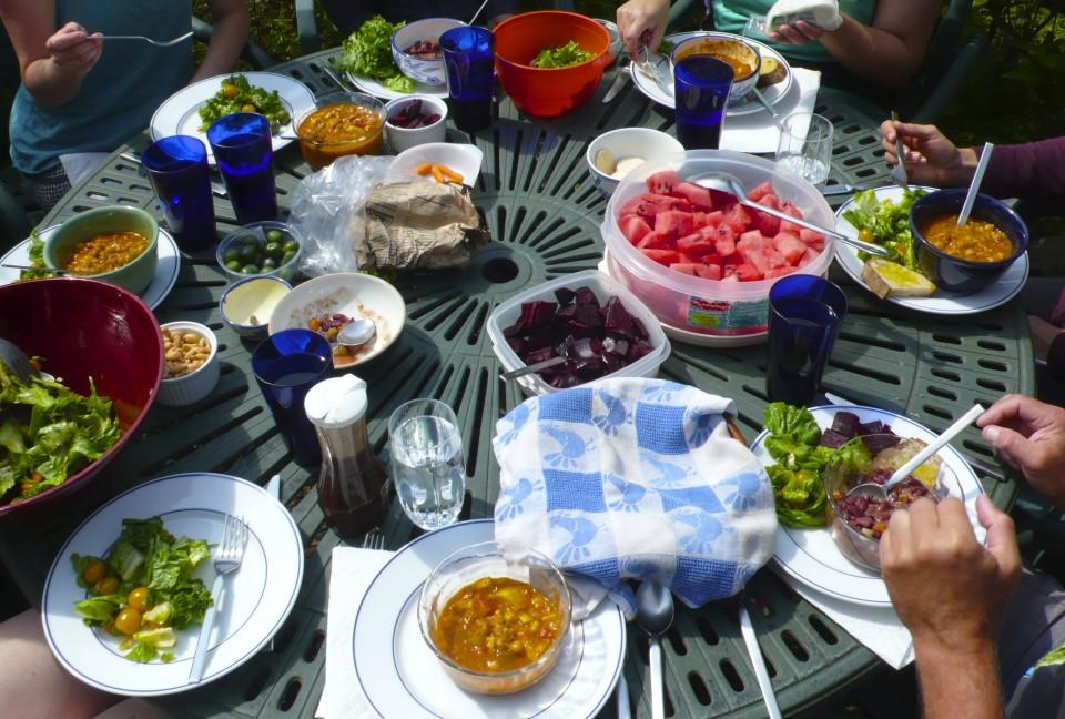Lunch outside in the garden.