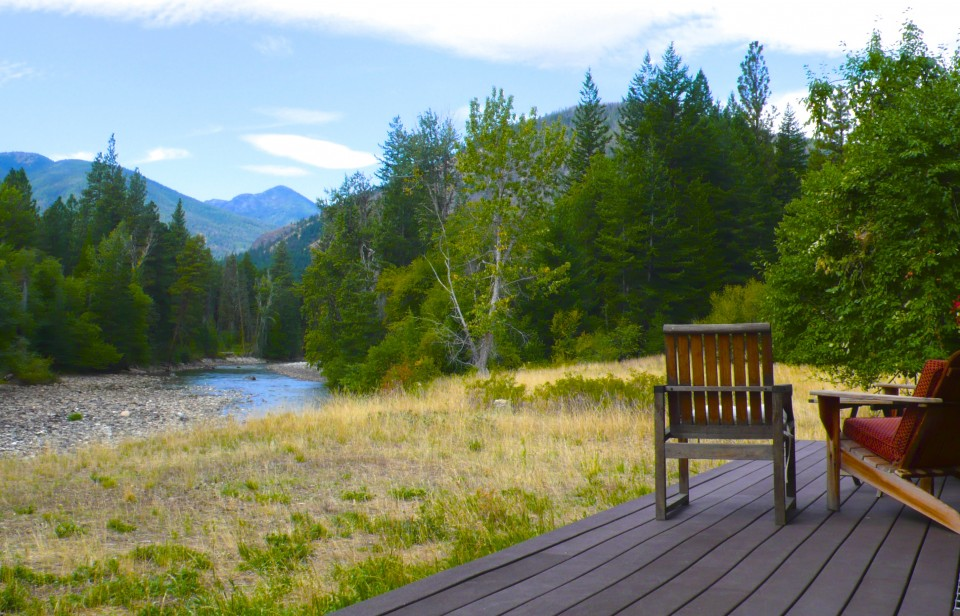 cabin deck and river where we spotted our bear