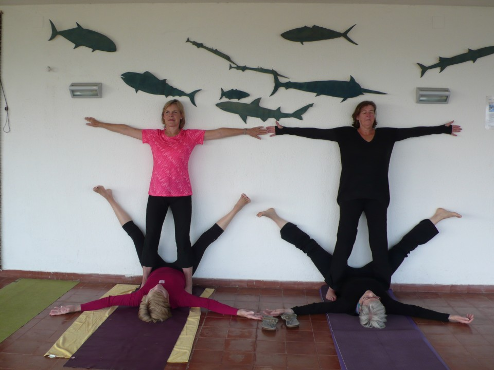 Rainy day yoga:  using Wall as Prop