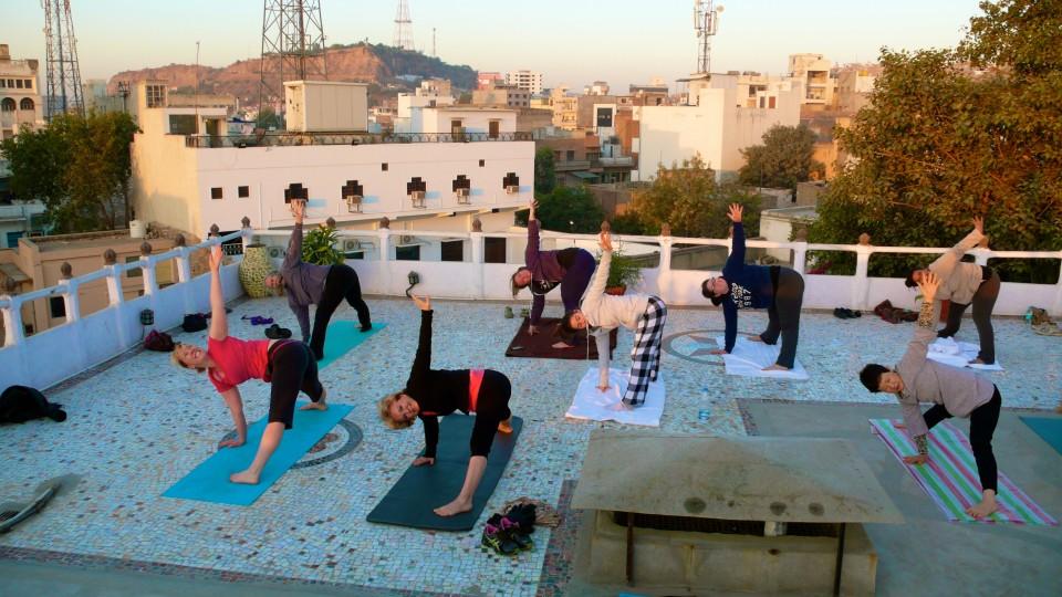 Rooftop sunrise yoga