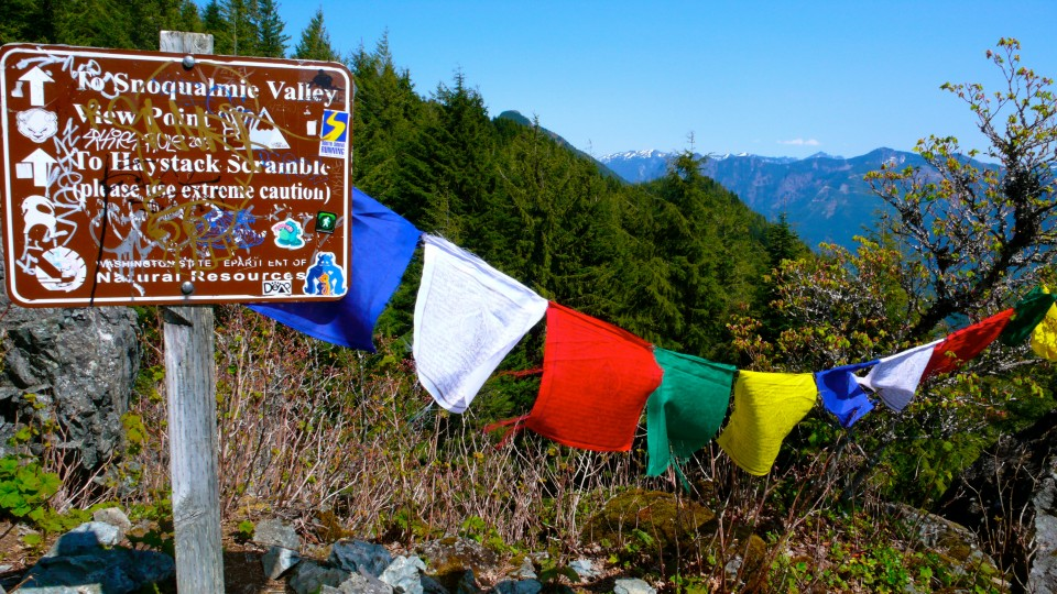 Tibetan Prayer Flags at the start of the Haystack Scramble (Haystack is the name given to the rock cap summit of Mt. Si)