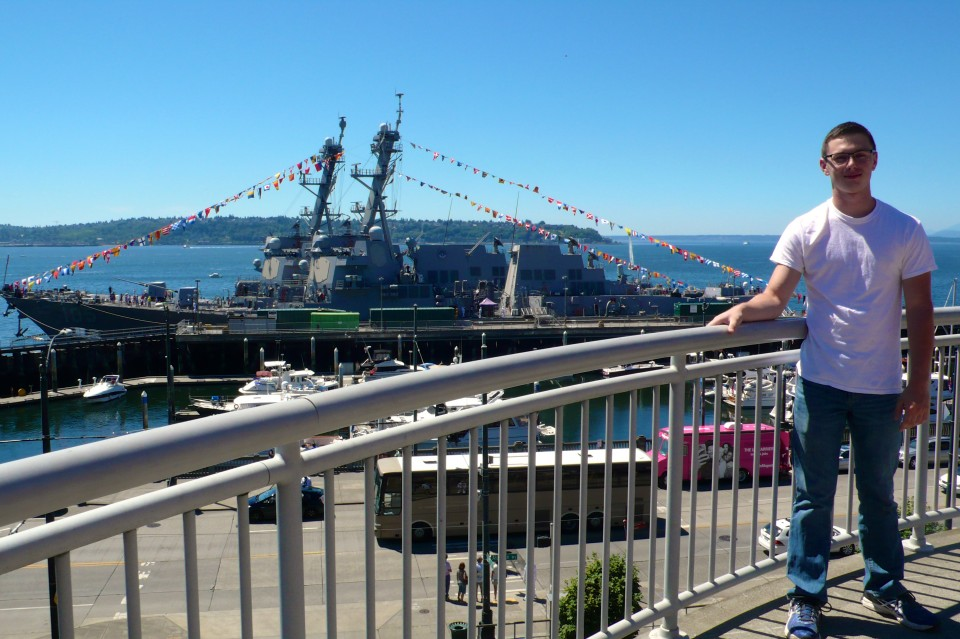 USS Dewey, the ship we toured, in the background.