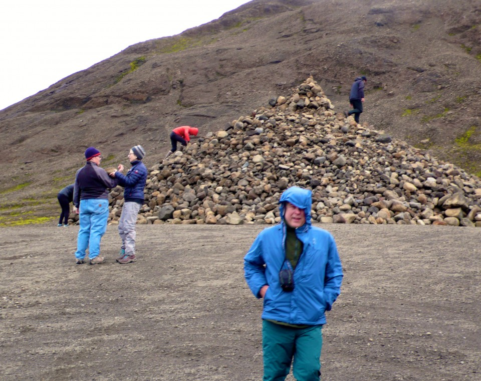 Leaving the glacier, there is a pile of rocks...no ordinary pile.  It is said to be the home of fairies.  After a visit to the glacier, it is tradition to grab a stone and place it on top of the fairy home.  The placed stone carries a wish or a prayer granted by the fairies of Langjokull Glacier.